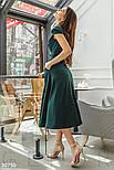 Женское платье миди с v-образным вырезом изумрудное, фото 2