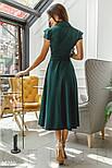 Женское платье миди с v-образным вырезом изумрудное, фото 3