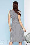 Расклешенное платье длины миди в клетку темно-синее, фото 3