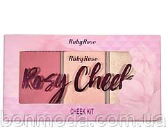 """Румяна + хайлайтер в наборе Blush Cheeks Ruby Rose """"Rosy"""""""