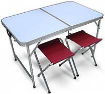 Складной стол для пикника с 4 стульями серый
