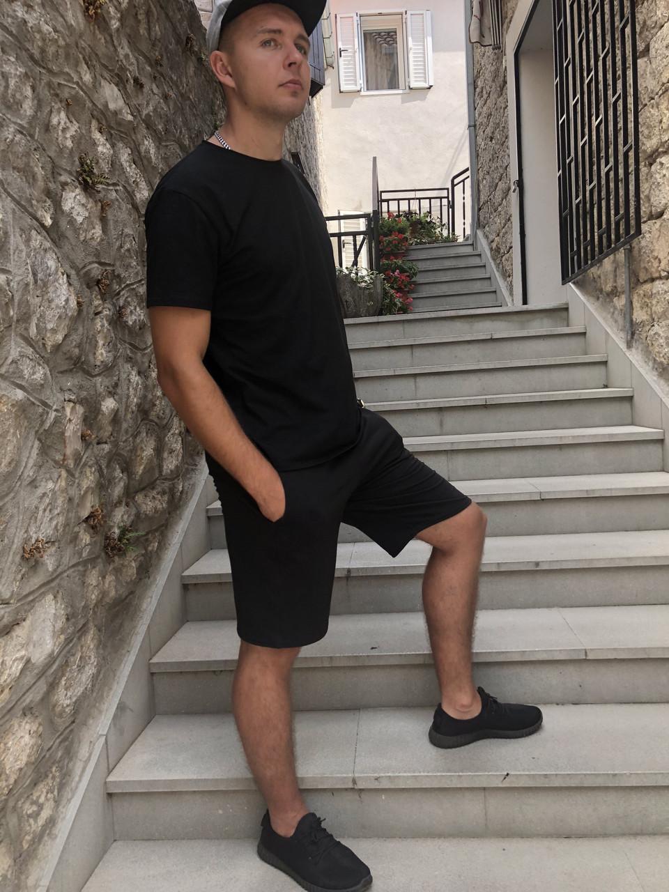 Костюм мужской футболка + шорты черный