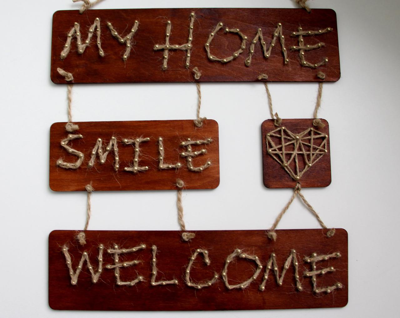 Панно стрінг-арт «Welcome» : rustic & country style / String Art