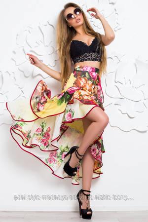 Спідниця жіноча літнє шифонова з яскравим кольоровим принтом, спідниця з воланами красива