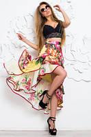 Юбка женская летняя шифоновая с ярким цветным принтом, юбка с воланами  красивая