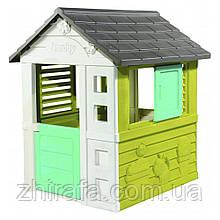 Ігровий пластиковий будиночок Smoby Pretty Райдужний з віконницями (810710)