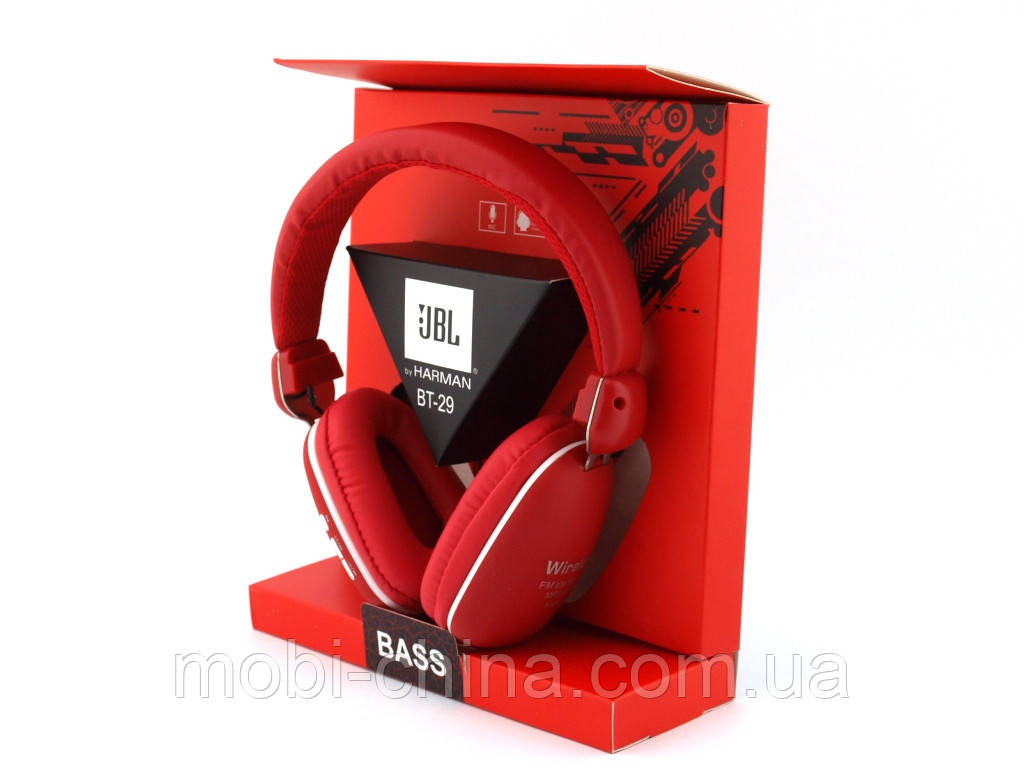JBL by Harman BT-29 Bass Bluetooth Wireless Headset копия, наушники с FM MP3, красные