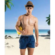 Шорты пляжные мужские синие с резинкой -183-05, фото 3