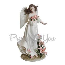 Фигурка фарфоровая «Ангел с цветами», h-32х19х17 см (350-3085)