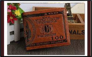 Мужской кошелек 100 Долларов темно-коричневый