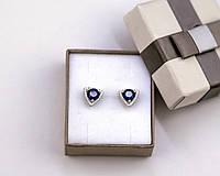Серьги из серебра с синим камнем гвоздики пуссеты серебро 925 проба