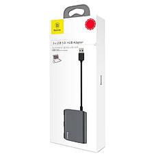 USB Хаб Baseus UC26-A 3в1 USB 3.0 х 3 Темно-сірий (UC26-A), фото 3