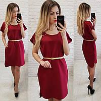 Платье легкое летнее, с карманами, повседневное, короткий рукав, ровное, норма и батал, пояс в комплекте