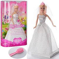 Кукла DEFA 6091, невеста, 28см, расческа