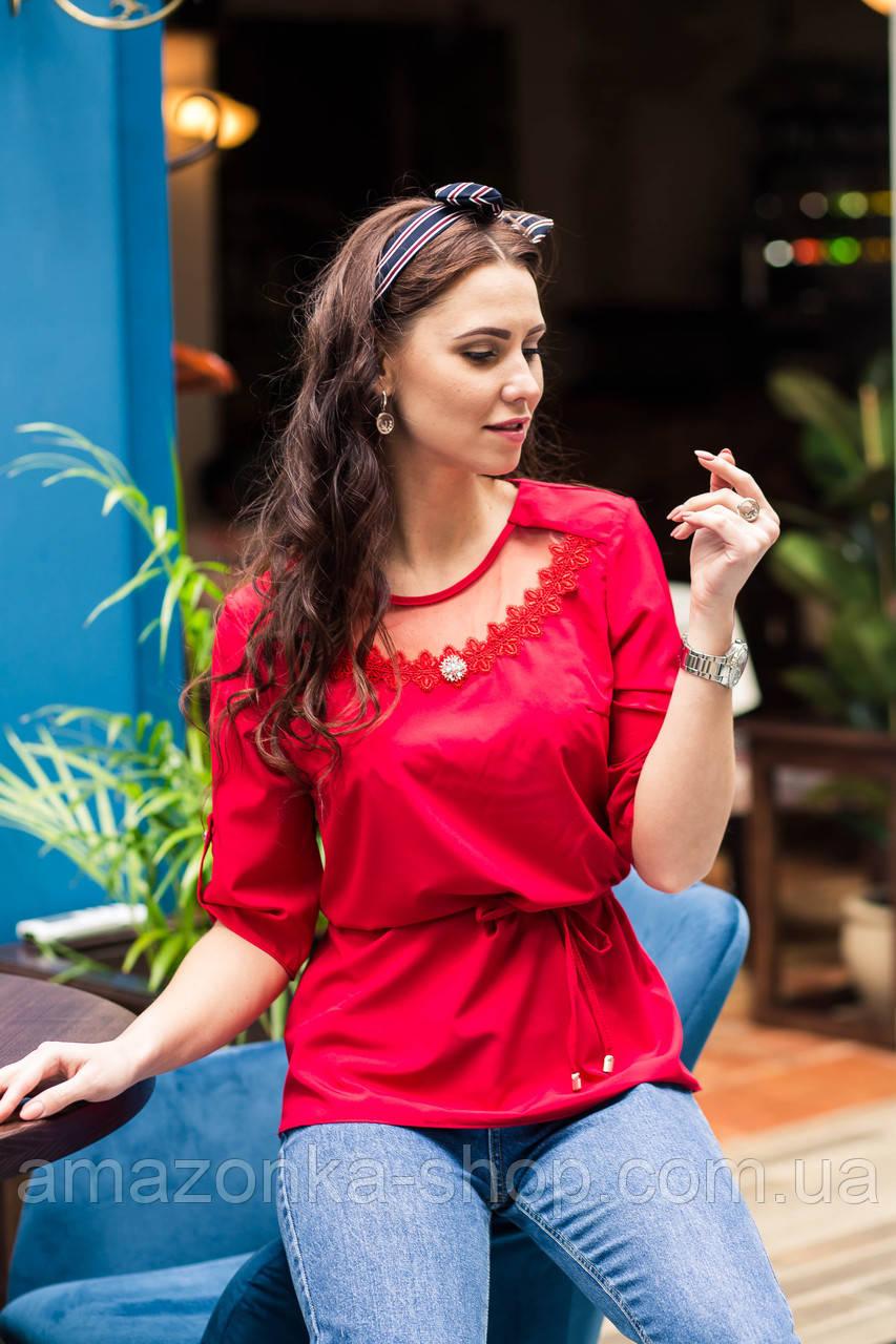Легкая женская блузка с вышивкой 2019 - (код бл-218)