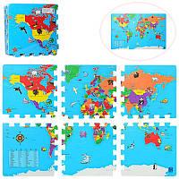 Коврик Детская мозаика M 2612, EVA, карта мира, 6деталей(31,5-31,5-1см)