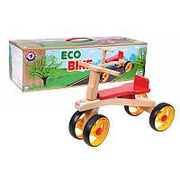 """Детский беговел """"Байк"""" ТехноК 4760, четырехколесный, деревянный, ролоцикл"""