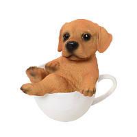 Настольная фигурка 17-92, собачка в чашке, 14см