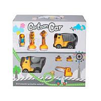 """Детский игровой набор """"Стройтехника"""" 933-63, 2 машинки, фигурка, дорожные знаки"""