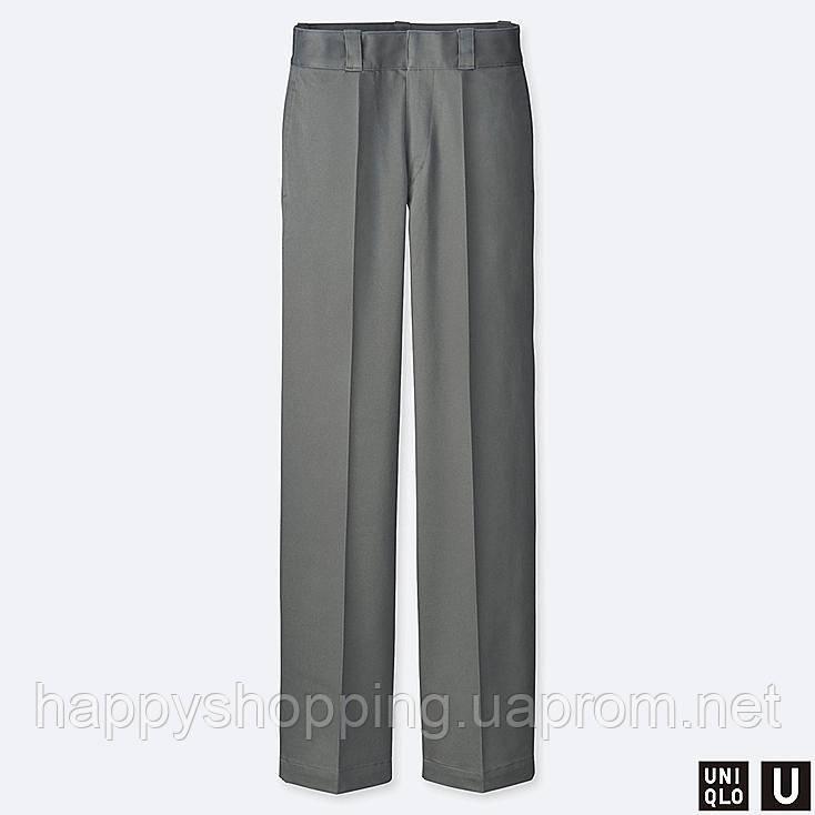 Женские стильные серые брюки прямого фасона Uniqlo