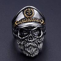 Брутальный мужской перстень с бородатым черепом