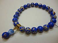"""Браслет из натурального камня """"Синий варисцит с кошачьим глазом"""", 8 мм."""