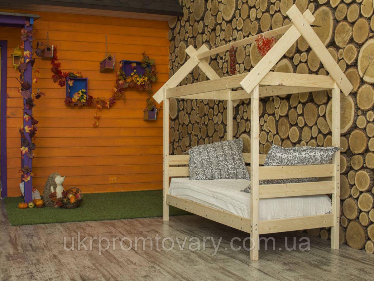 Дитяче ліжко-будиночок Хатинка 700 Х 1600 мм в Києві, натуральне дерево, якість