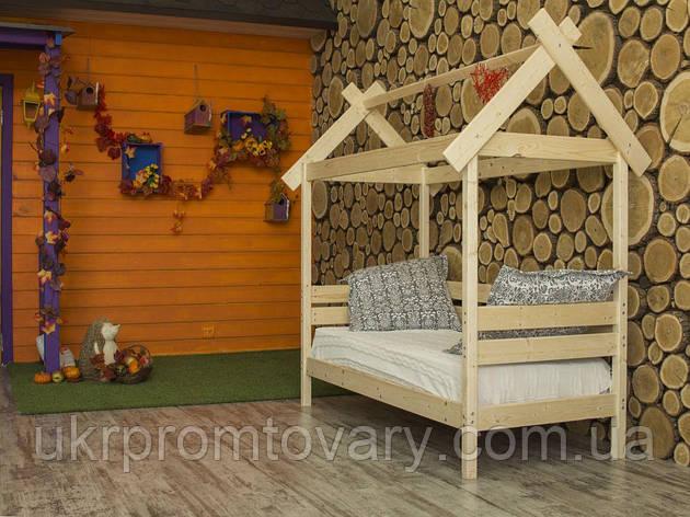 Дитяче ліжко-будиночок Хатинка 700 Х 1600 мм в Києві, натуральне дерево, якість, фото 2