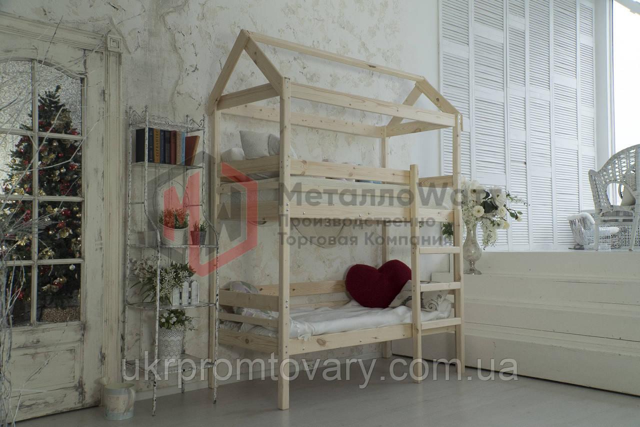 Ліжко будиночок двоярусна Baby-house 70х160 в Києві, натуральне дерево, якість