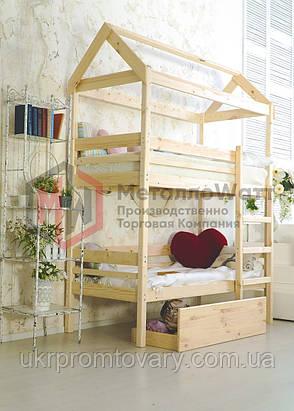 Ліжко будиночок двоярусна Baby-house 70х160 в Києві, натуральне дерево, якість, фото 2