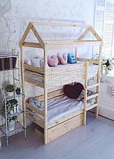 Кровать домик двухъярусная «Baby-house» 70х190 в Киеве, натуральное дерево, качество, фото 2