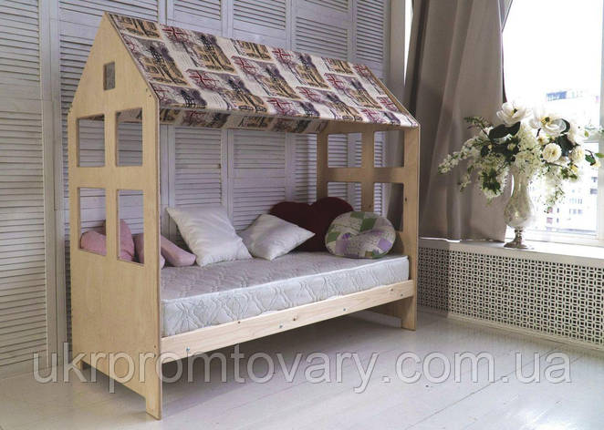 Детская кровать-домик Гномик 700 Х 1900 мм  в Киеве, натуральное дерево, качество, фото 2