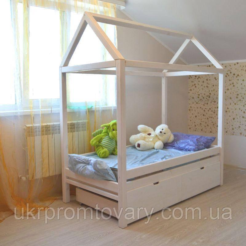 Дитяче ліжко будиночок Антошка 1400*600 мм, Масив, Фарбування акриловою емаллю в Києві, натуральне дерево, якість