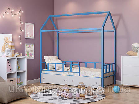 Кровать-домик Риччи голубой с ящиками белый в Киеве, натуральное дерево, качество, фото 2