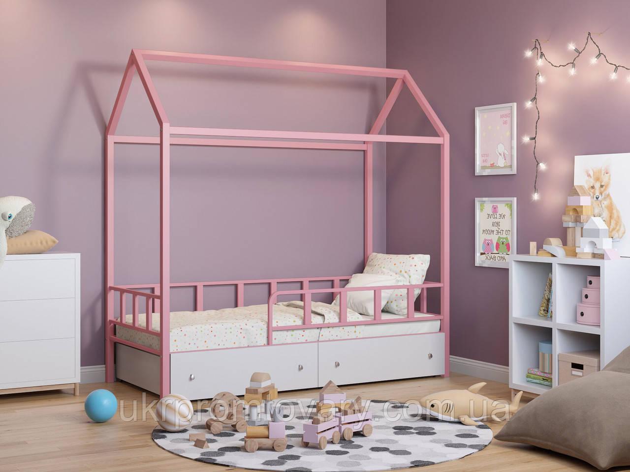 Ліжко-будиночок Річчі рожевий з ящиками білий у Києві, натуральне дерево, якість