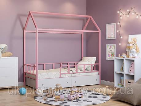 Ліжко-будиночок Річчі рожевий з ящиками білий у Києві, натуральне дерево, якість, фото 2
