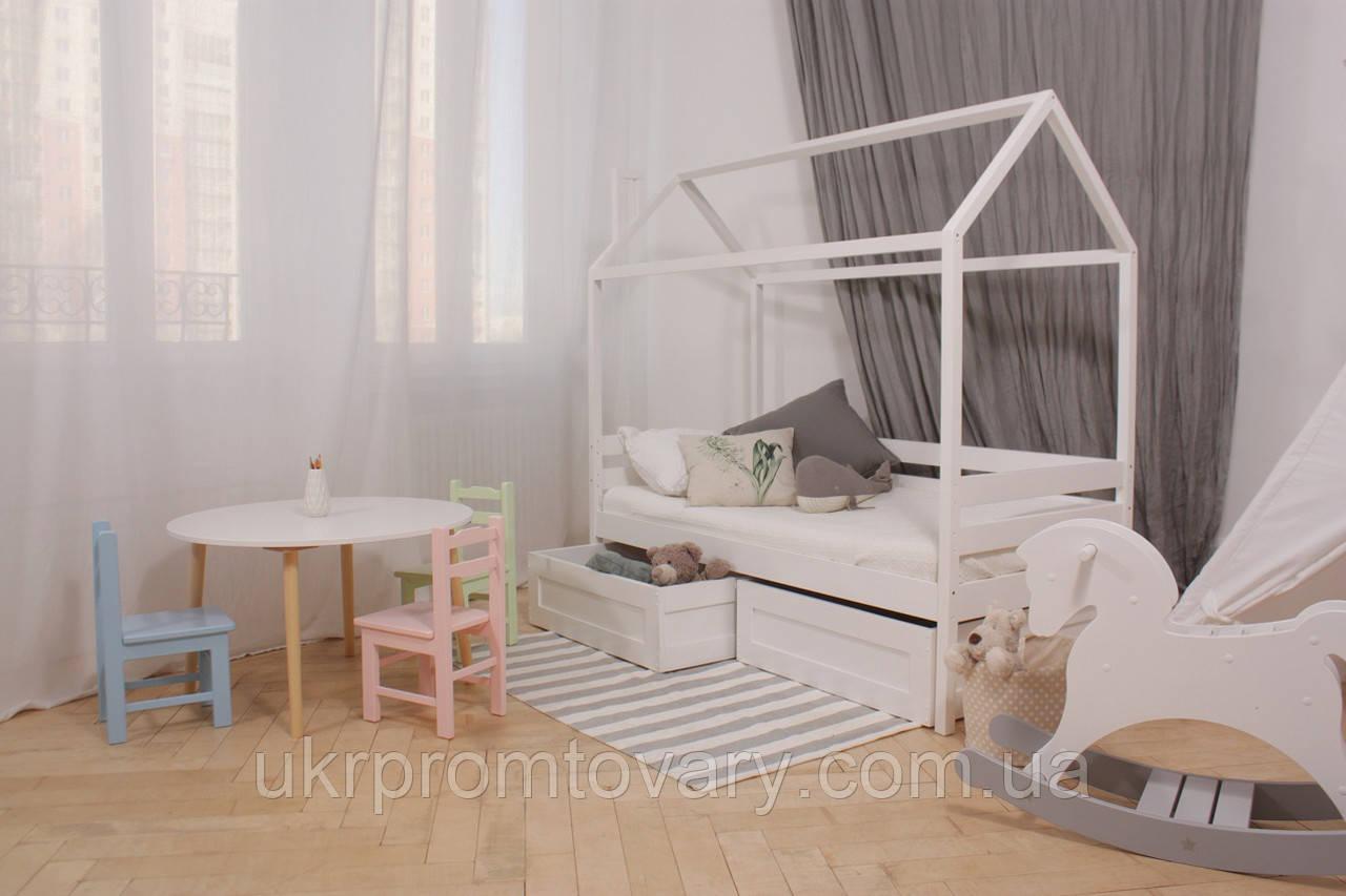 Дитяче ліжко-будиночок КД-4 з ящиками (масив) в Києві, натуральне дерево, якість