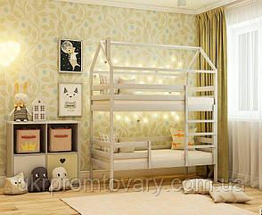 Двох'ярусне ліжко-будиночок КД-7 700*1400 мм в Києві, натуральне дерево, якість, фото 2