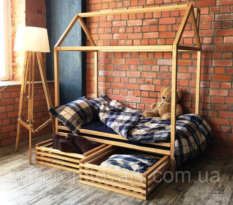 Детская кровать домик ЦЕННАЯ ПОРОДА БУКА, 1600*700 мм, Без покраски в Киеве, натуральное дерево, качество
