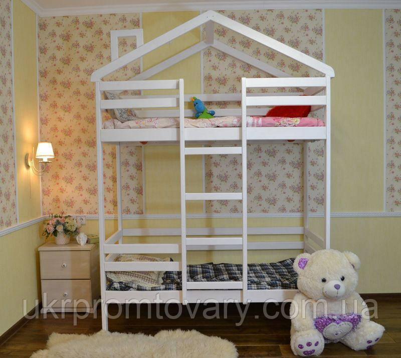 Дитяче ліжко будиночок Міла 1600*700 мм, Масив, Фарбування акриловою емаллю в Києві, натуральне дерево, якість
