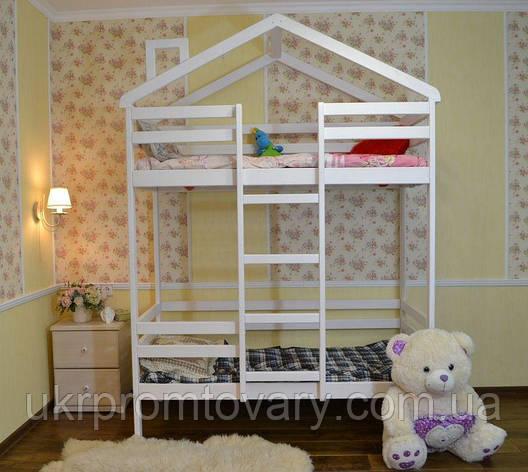 Дитяче ліжко будиночок Міла 1600*700 мм, Масив, Фарбування акриловою емаллю в Києві, натуральне дерево, якість, фото 2