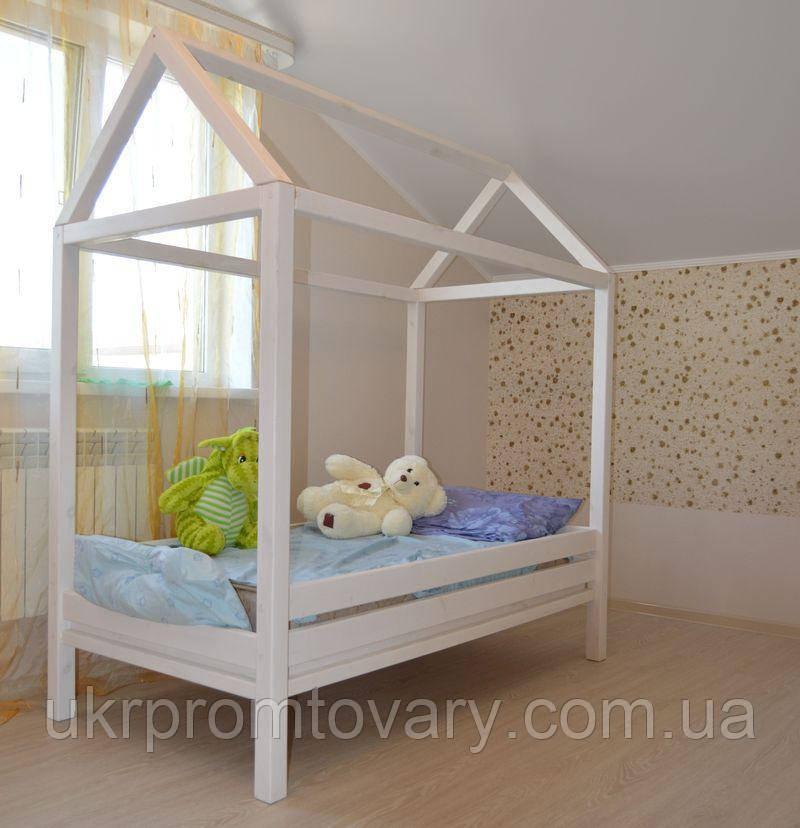 Дитяче ліжко будиночок Антошка 1600*700 мм, ЦІННА ПОРОДА БУКА, Фарбування акриловою емаллю в Києві, натуральне дерево, якість