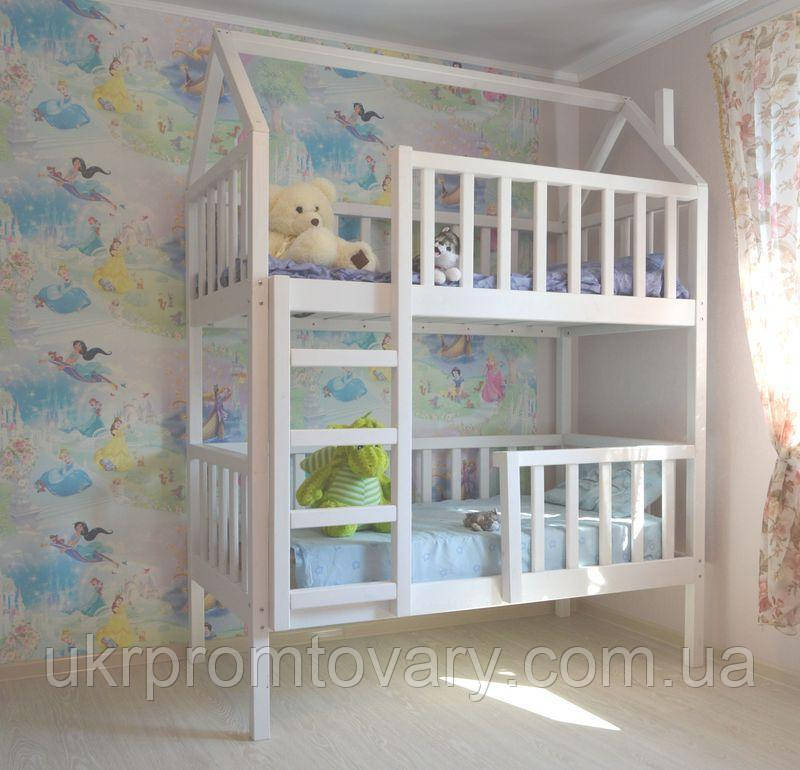 Дитяче ліжко будиночок Артемко 1600*700 мм, Масив, Фарбування акриловою емаллю в Києві, натуральне дерево, якість