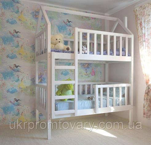Дитяче ліжко будиночок Артемко 1600*700 мм, Масив, Фарбування акриловою емаллю в Києві, натуральне дерево, якість, фото 2