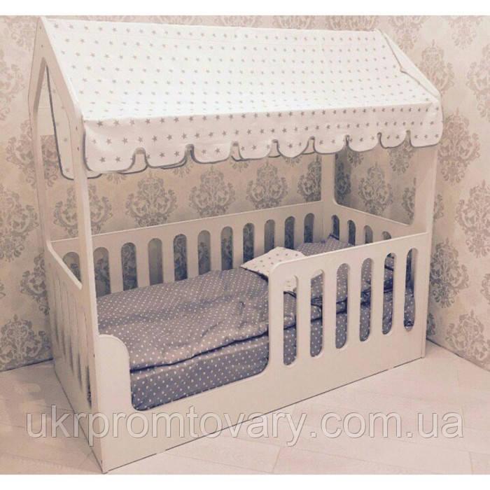Дитяче ліжко-будиночок без ящика, білий, 800х1600, текстиль 2 в Києві, натуральне дерево, якість
