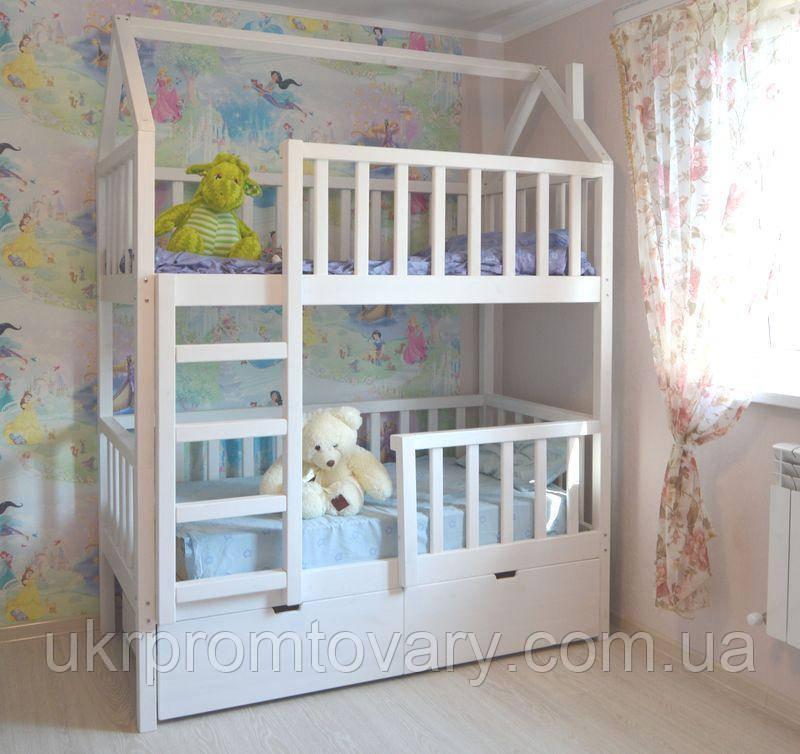 Детская кровать  домик Артёмка 1400*700 мм, Массив, Покраска акриловой эмалью в Киеве, натуральное дерево, качество