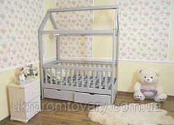 Детская кровать домик Маня 1600*700 мм, ЦЕННАЯ ПОРОДА БУКА, Покраска акриловой эмалью в Киеве, натуральное дерево, качество