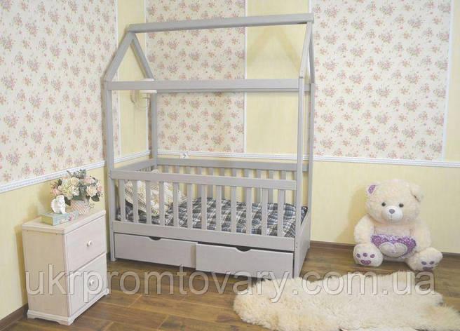 Детская кровать домик Маня 1600*700 мм, ЦЕННАЯ ПОРОДА БУКА, Покраска акриловой эмалью в Киеве, натуральное дерево, качество, фото 2