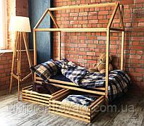 Дитяче ліжко будиночок ЦІННА ПОРОДА БУКА, 1900*900 мм, Фарбування акриловою емаллю в Києві, натуральне дерево, якість
