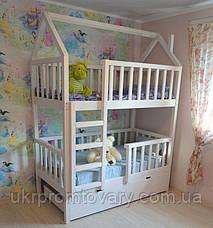 Детская кровать  домик Артёмка 1600*700 мм, ЦЕННАЯ ПОРОДА БУКА, Покраска акриловой эмалью в Киеве, натуральное дерево, качество, фото 3